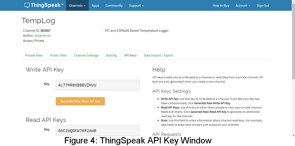 API window of thingspeak