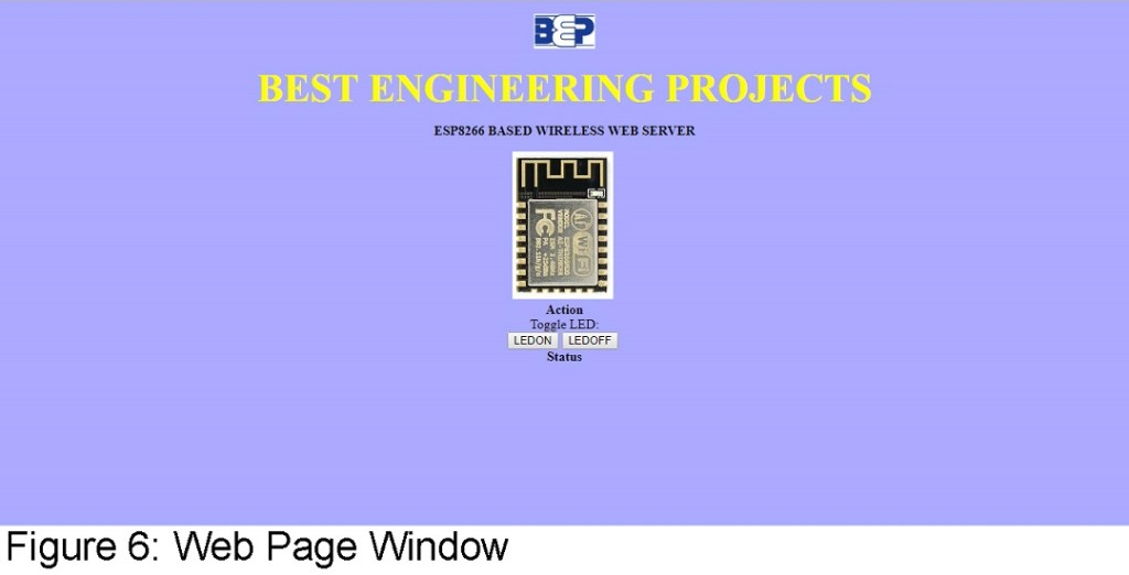 web page window of esp8266 based web server