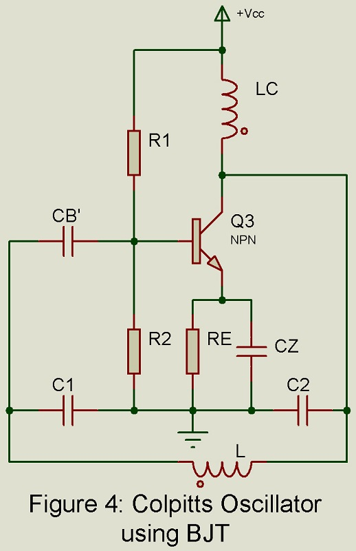 Colpitts Oscillator using BJT circuit