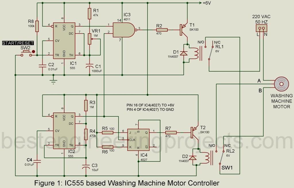 motor controller circuit for washing machine using 555