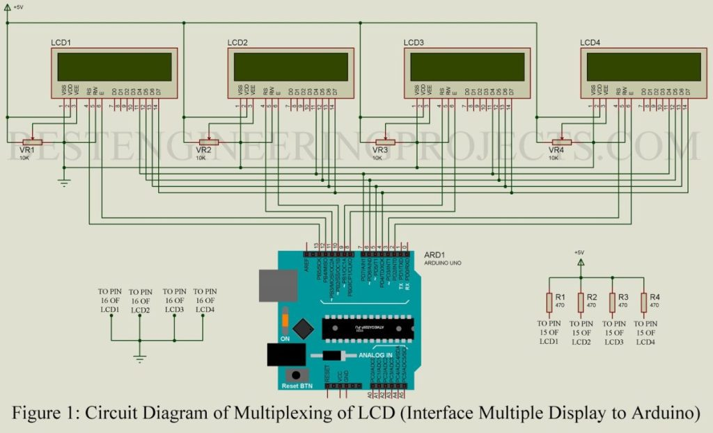 multiplexing multiple LCD using arduino uno