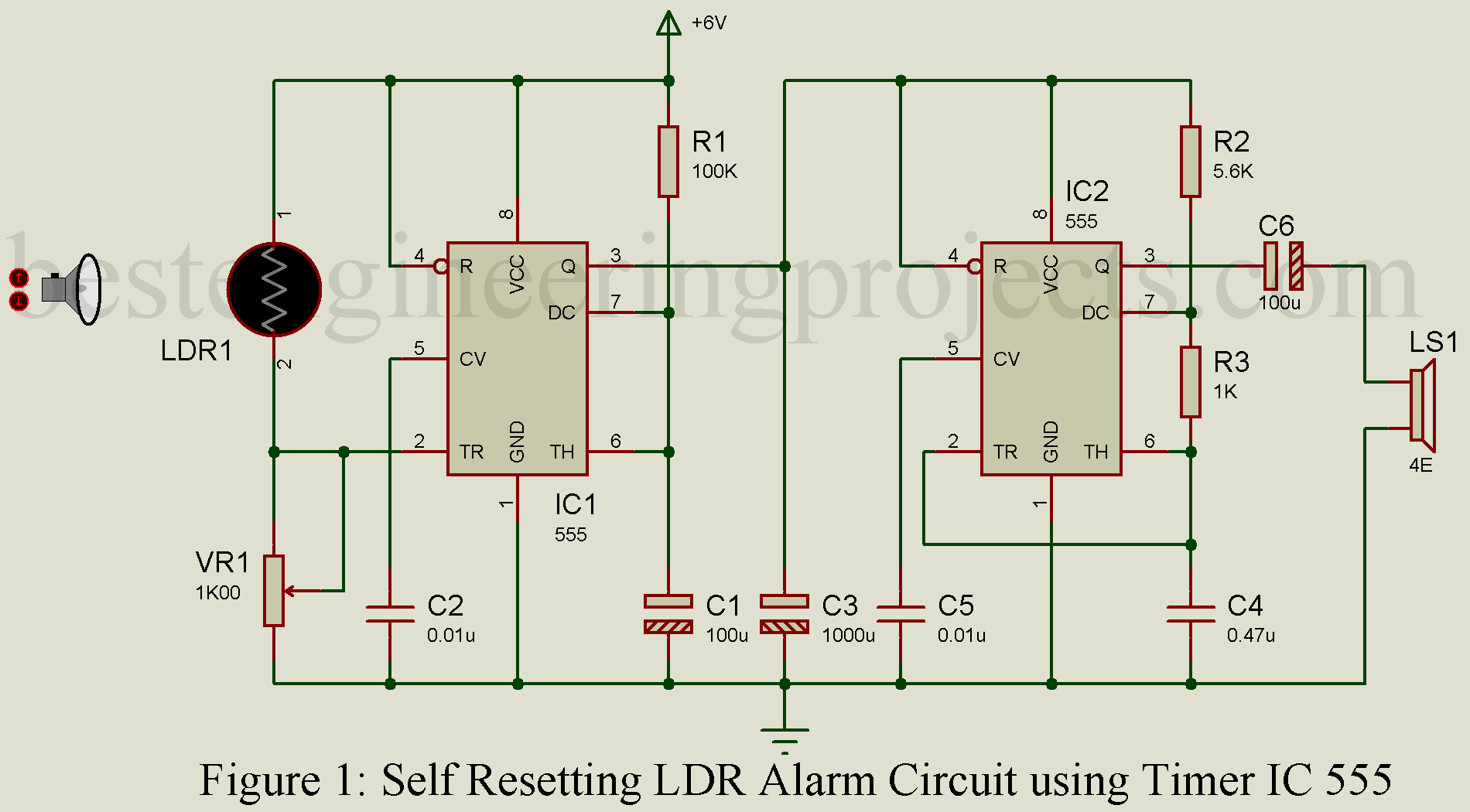 Self Resetting LDR Alarm using Timer IC 555 - Best Engineering Projects