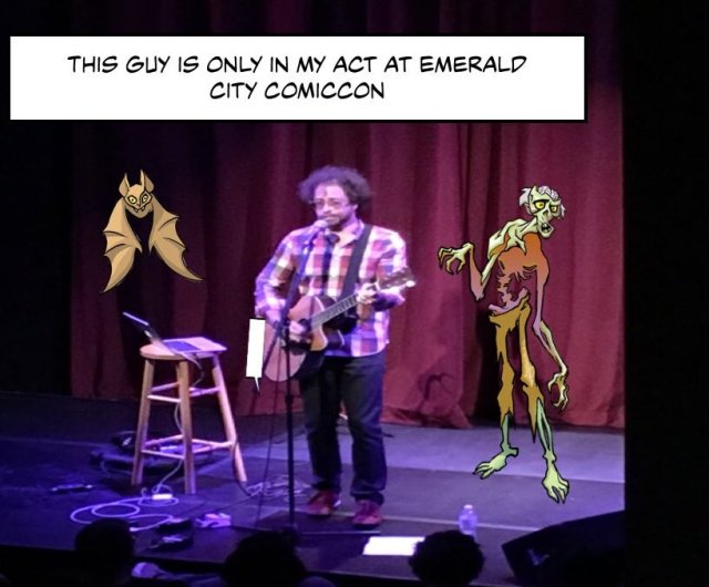 A KWKComic modified image of entertainer Jonathan Coulton during is ECCC appearance. - KWKComic