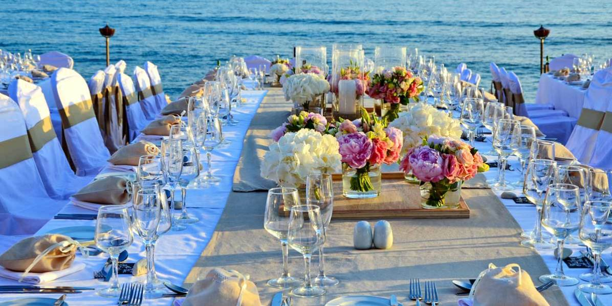 Beach Wedding Reception, Aphrodite Hills Resort Cyprus, Prestigious Venues