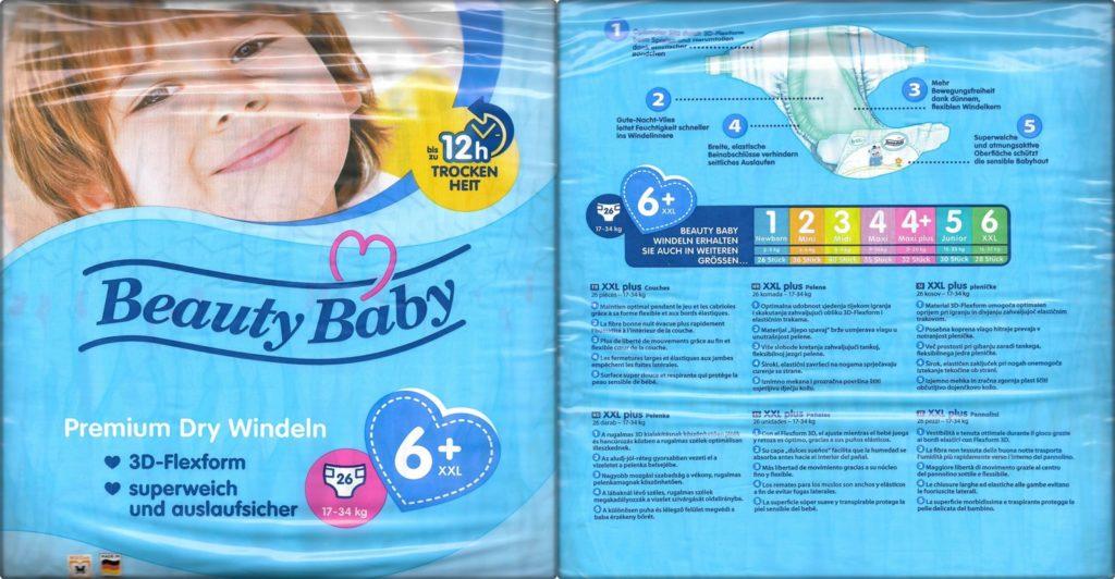Testpackung Beauty Baby Premium Dry Windeln 6+ XXL