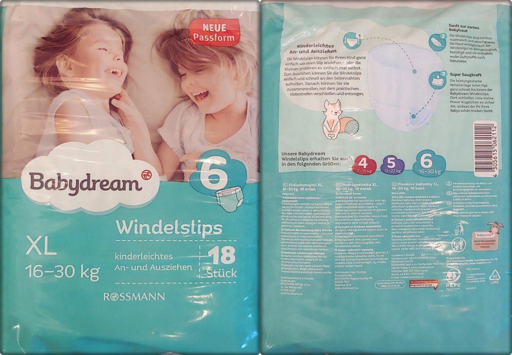 Testpackung der Babydream Windelslips Größe 6 XL beidseitig fotografiert