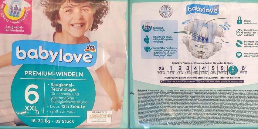 Einzelpack Vorder- und Rückseite der Babylove Premium Windeln Größe 6 XXL