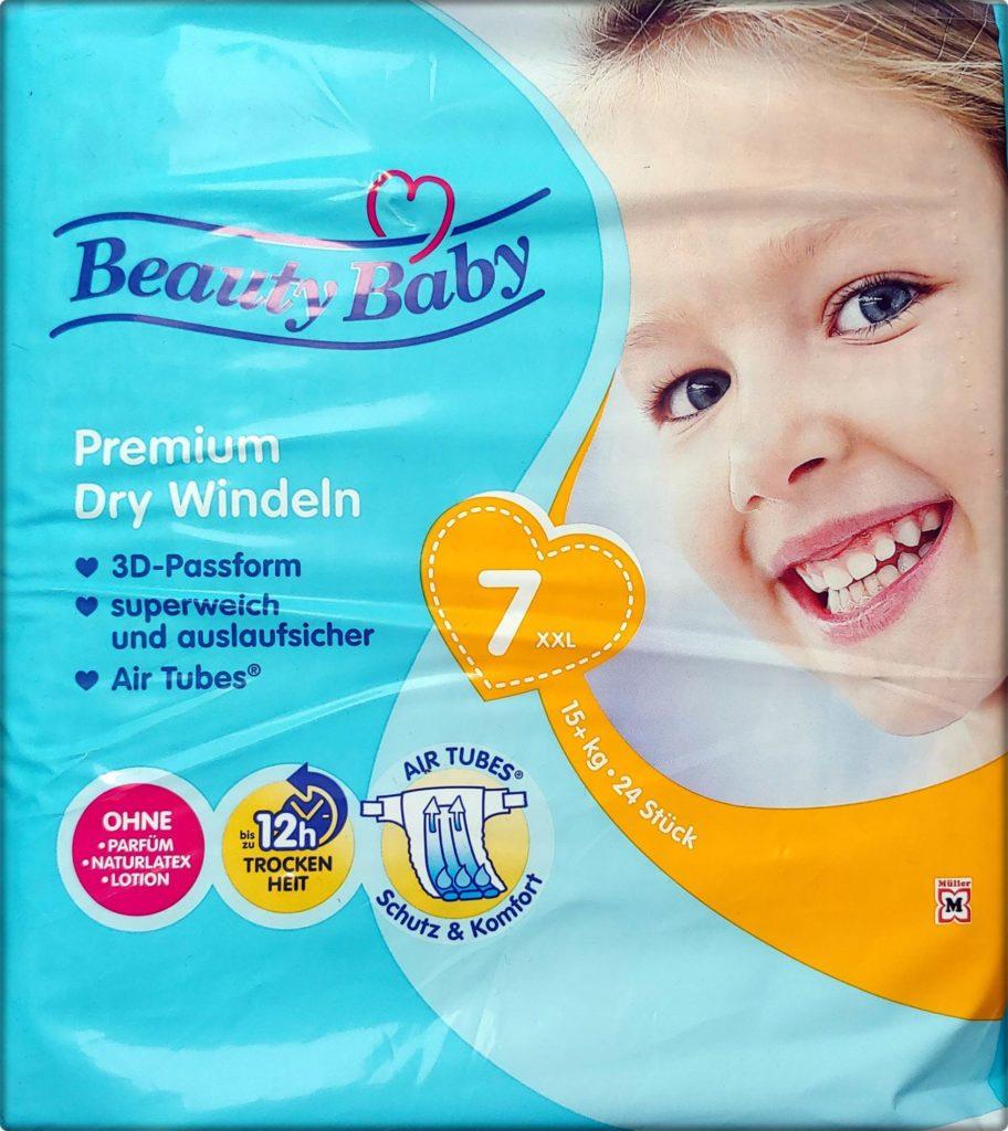 Einzelpack Beauty Baby Premium Dry Windeln Größe 7 XXL Vorderseite