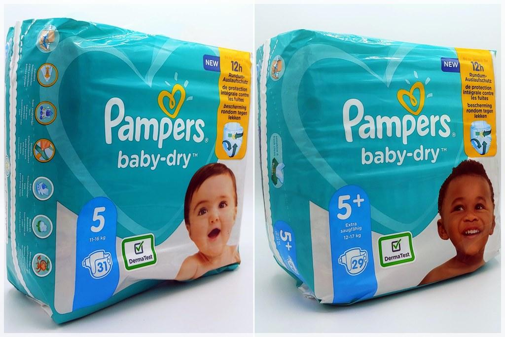 Einzelpack Vorderseite der Pampers baby-dry Größe 5 und 5+