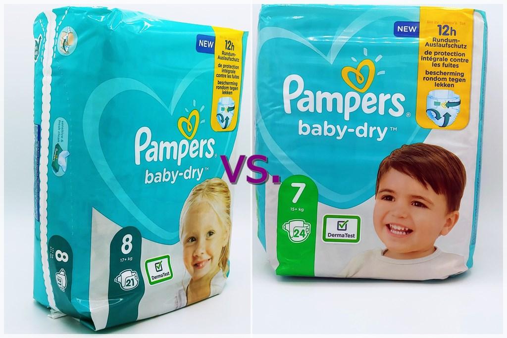 Pampers baby-dry Größe 8 vs Pampers baby-dry Größe 7 Packungen