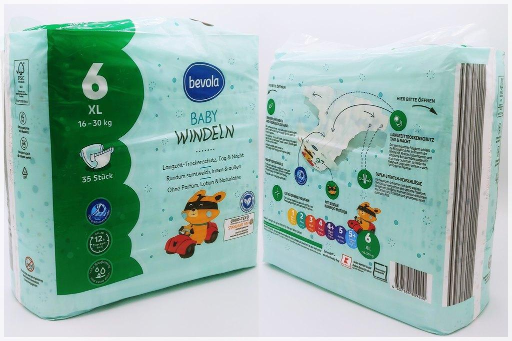 Einzelpackung Vorder- und Rückseite der Bevola Baby Windeln Größe 6 XL
