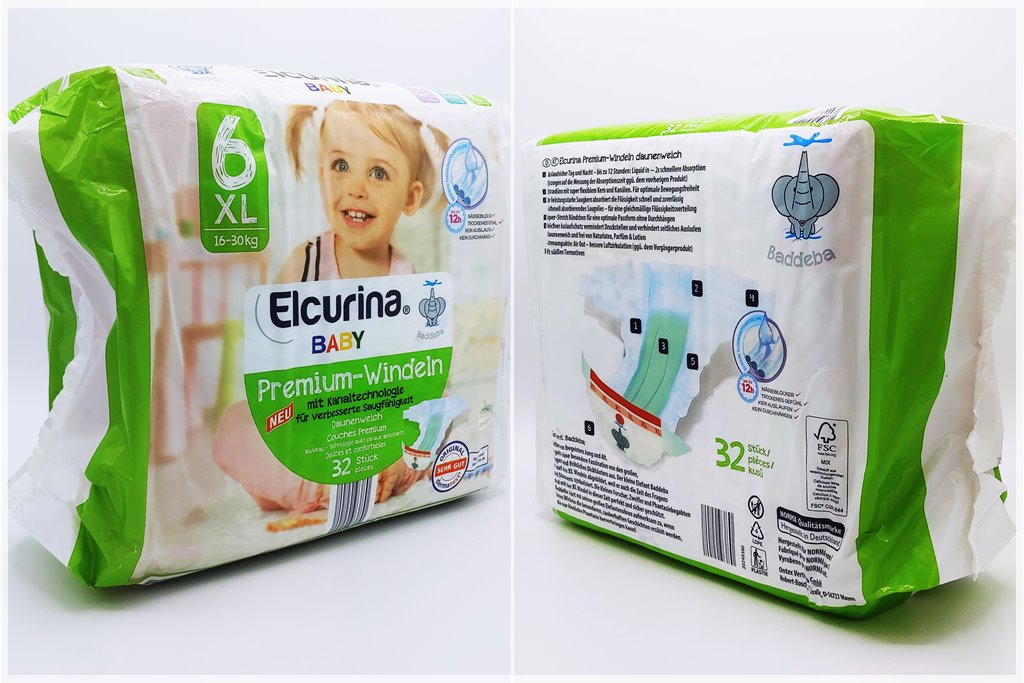Einzelpackung Vorder- und Rückseite der Elcurina Baby Premium-Windeln Gr. 6 XL