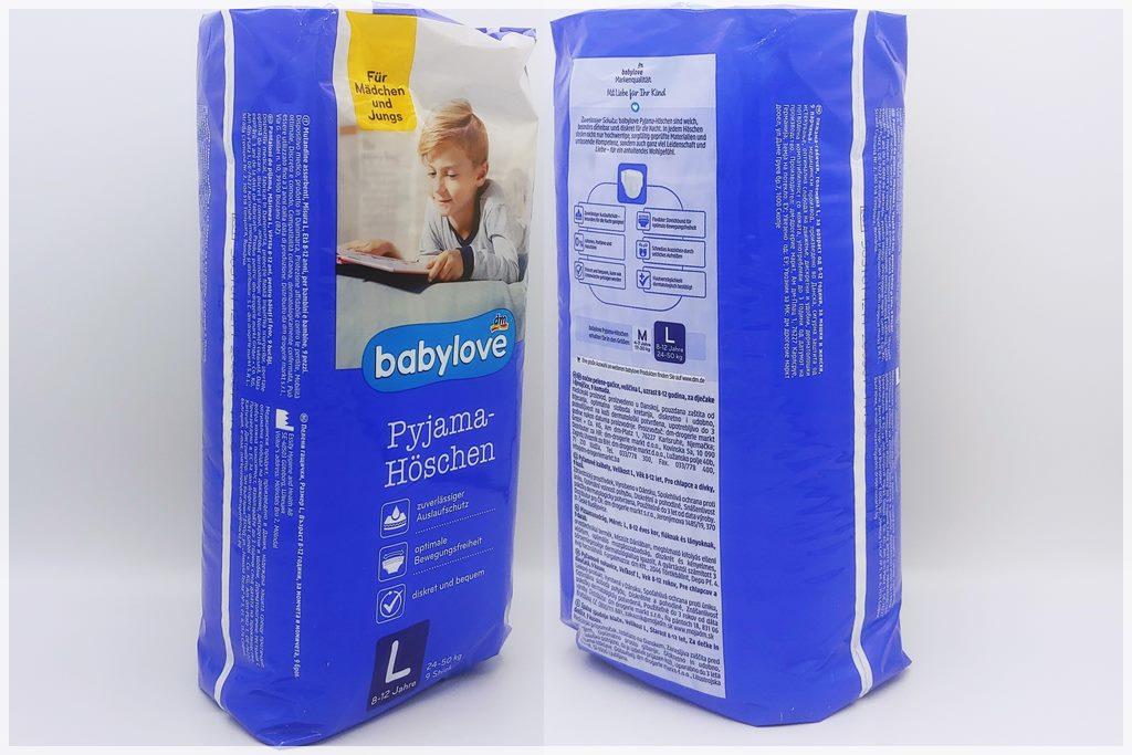Einzelpackung Vorder- und Rückseite der Babylove Pyjama-Höschen L 8-12 Jahre