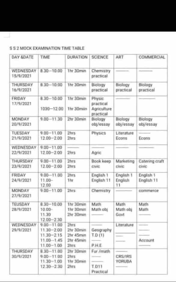 New SS2 Mock/ Promotion Exams Timetable 2021/2022 For All States