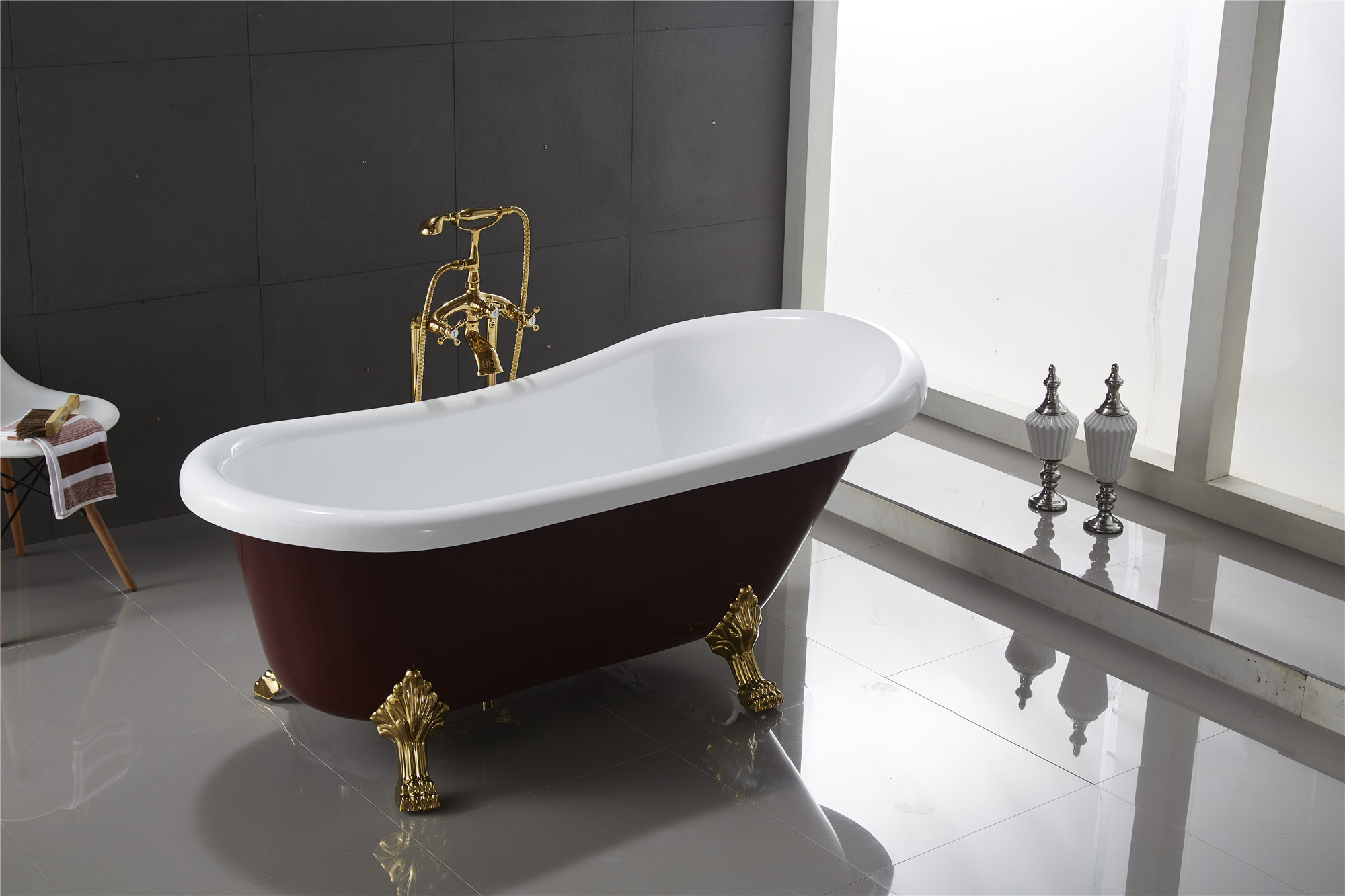 Classic Clawfoot Tub W/ Regal Brass Lion Feet, Gold
