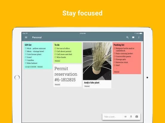 Download Google keep for iPad