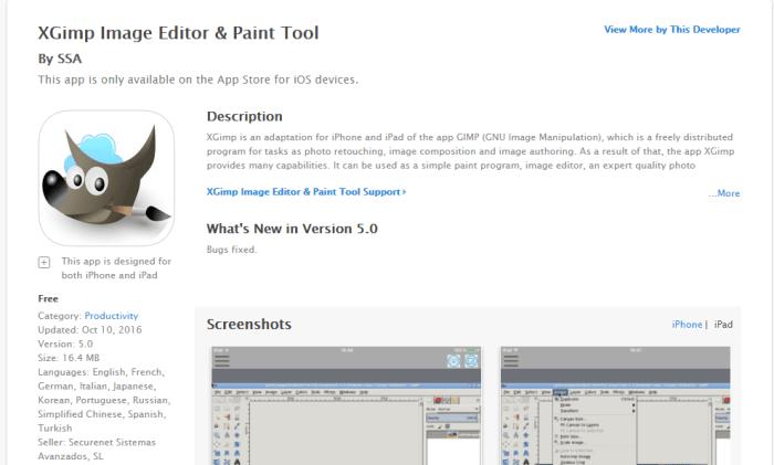 Download GIMP for iPad