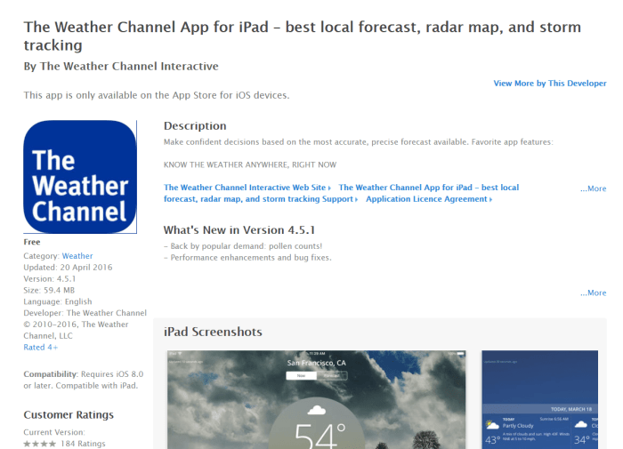 DownloadWeather App for iPad