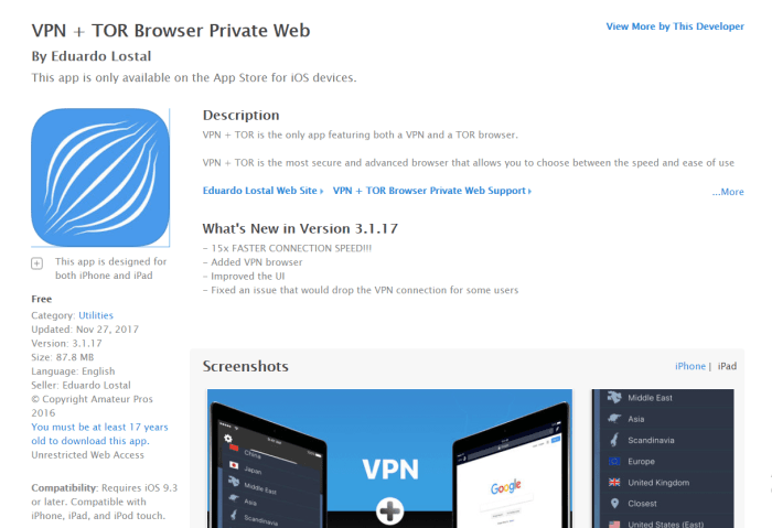 Download Tor Browser for iPad