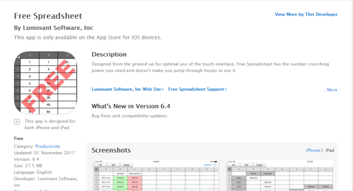 Download Spreadsheet for iPad