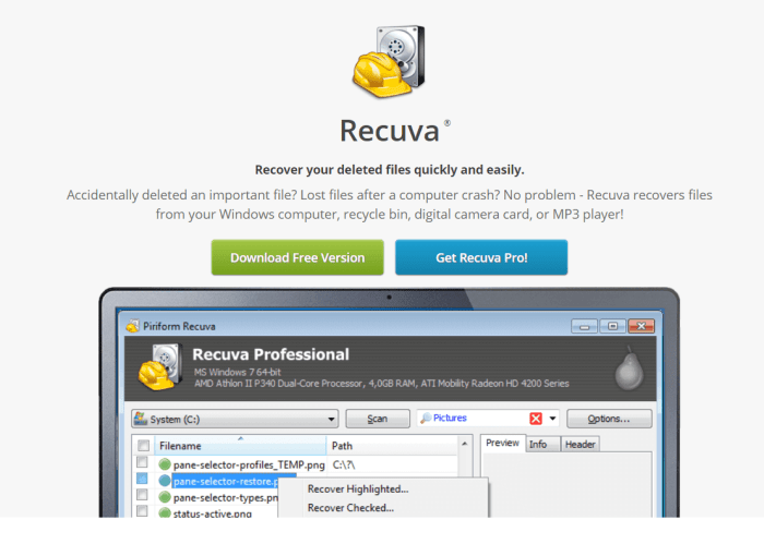 Download Recuva for Mac