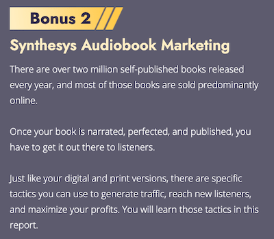 synthesys audio marketing bonus