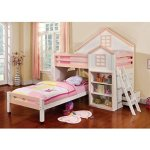 Citadel House Design White & Pink Finish Dual Twin Size Loft Bed Set