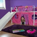 Twin Loft Bed with Slide and Bean Bag Bedroom Set