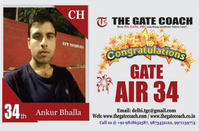 GATE 2016 Toppers AIR 34
