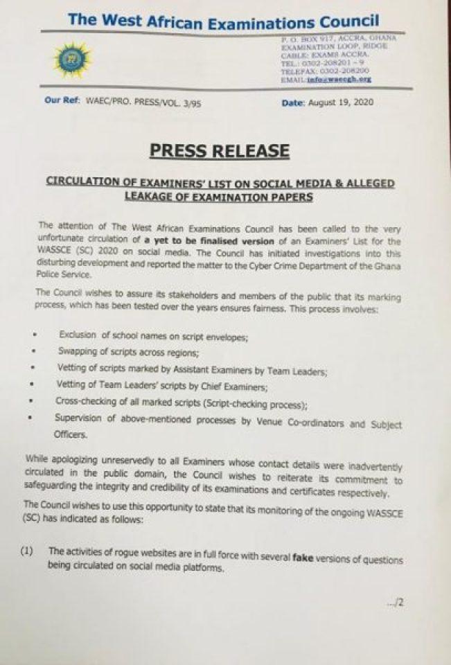 WAEC Apologizes For Leak Of Examiners Details
