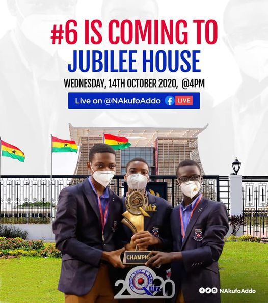 (Video) NSMQ 2020 CHAMPIONS- PRESEC HOSTED BY PRESIDENT AT JUBILEE HOUSE.