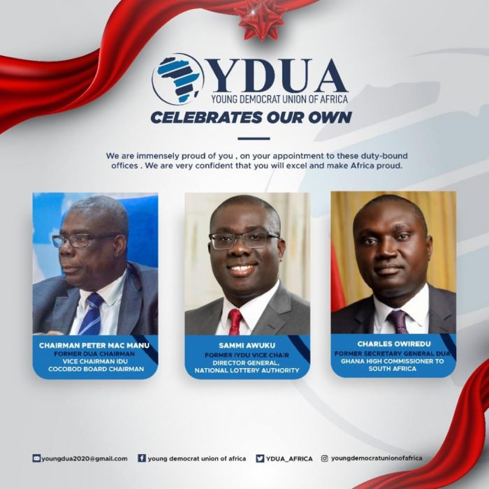 YDUA CELEBRATES THE APPOINTMENT OF PETER MAC MANU AND OTHERS
