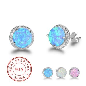 925 Sterling Silver Opal Earrings - White Opal Earrings - Pink Opal Earrings - Blue Opal Earrings
