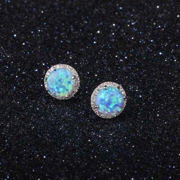 Blue Opal Earrings - 925 Sterling Silver Opal Earrings