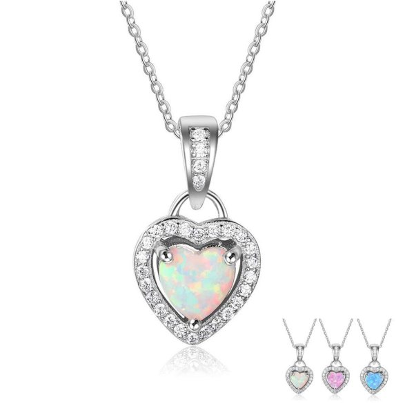 Opal Heart Necklace - Opal Heart Pendant - Silver Opal Necklace - Silver Opal Heart Pendant