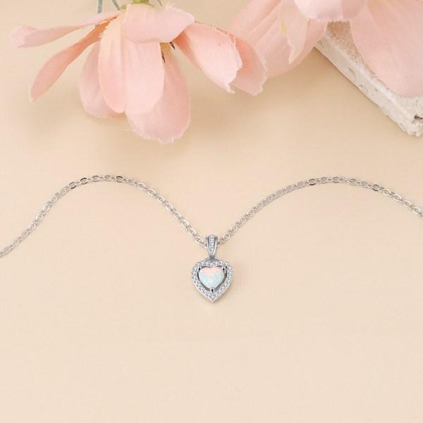 White Opal Heart Necklace - Opal Heart Pendant - Silver Opal Necklace - Silver Opal Heart