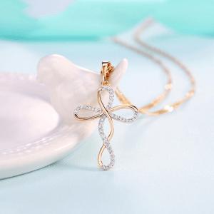 Infinity Cross Necklace - Infinity Cross Pendant - Crystal Infinity Cross