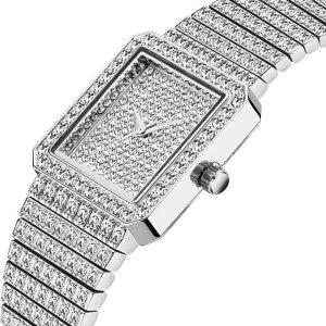 Ladies Crystal Dress Watch - Elegant Crystal Dress Watch - Womens Crystal Watch - Silver