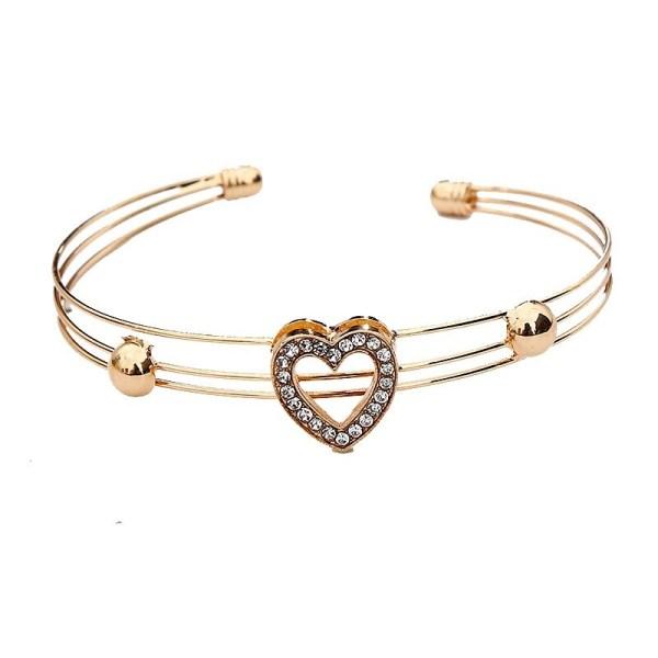 Heart Bracelet - Gold Heart Bracelet - Rose Gold Heart Bracelet - Heart Bangle Bracelet - Crystal Heart Bracelet