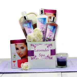 Gifts for her basket with spa items body lotion and aromatherapy candle