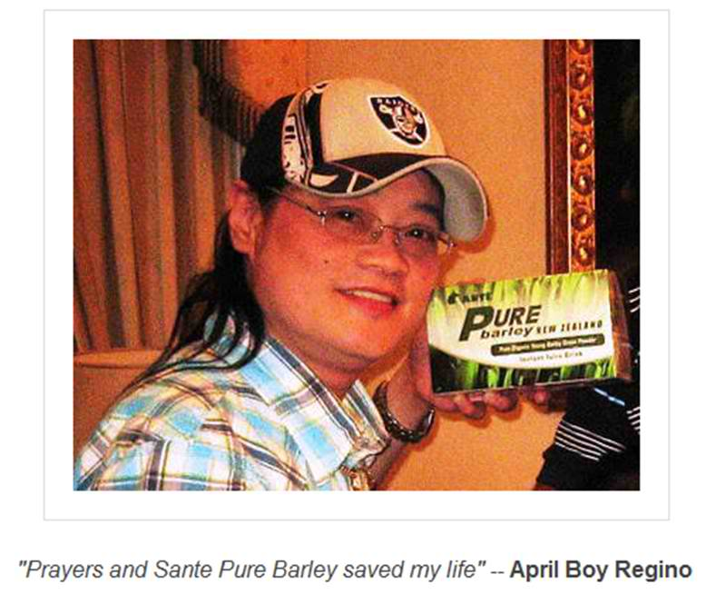 April Boy Regino using Sante Pure Barley