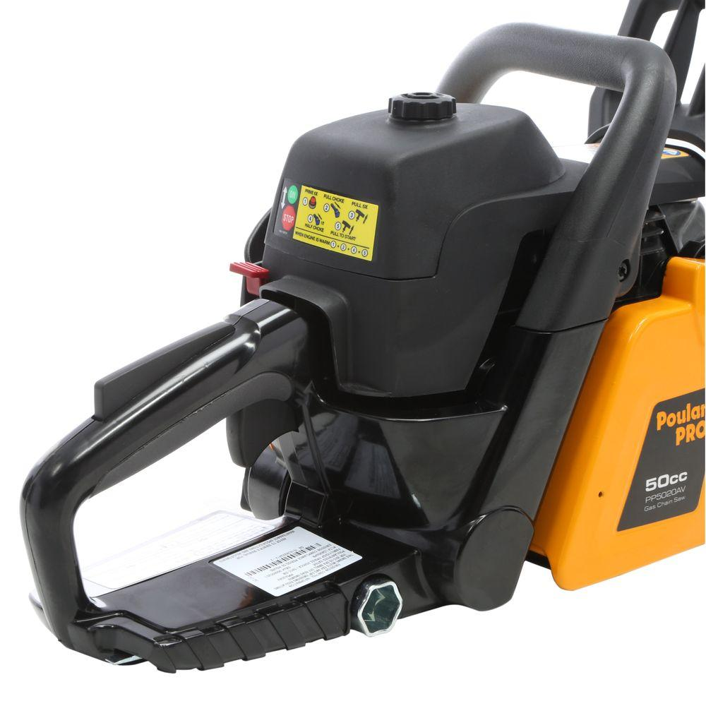Poulan Pro Pp5020av 20 Inch Chainsaw Best Gutter Cleaning Tool Fuel Filter Product Features 50cc Duralife 2 Cycle Engine Bar And Chain Effortless Pull Starting System Automatic Oiler Super Clean Air