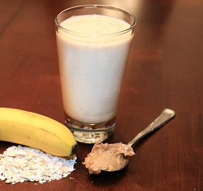 Peanut butter banana oatmeal smoothie