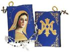 Reversible Virgin Of Grace Blue Tapestry Rosary Icon Pouch Case Symbol of Mary
