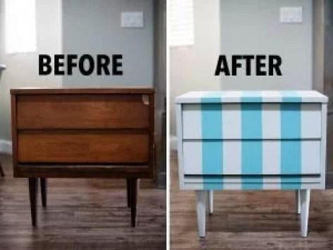 Blue Striped Nightstand Ikea