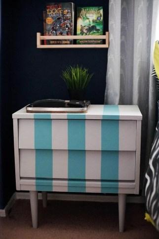 A Blue Striped Nightstand Ikea Nice