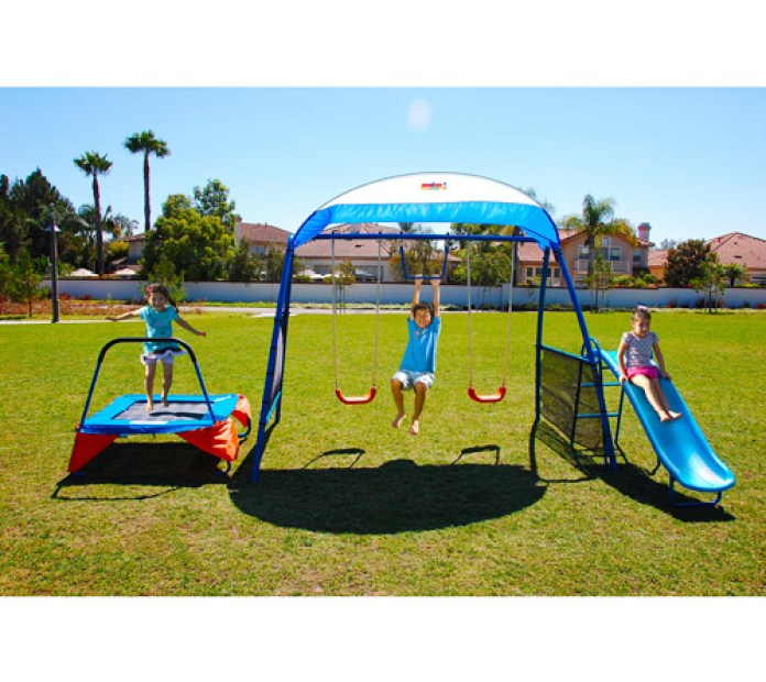 Kids Outdoor Playground Includes Trampoline