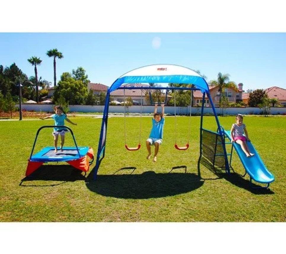 Kids Outdoor Playground Includes Trampoline