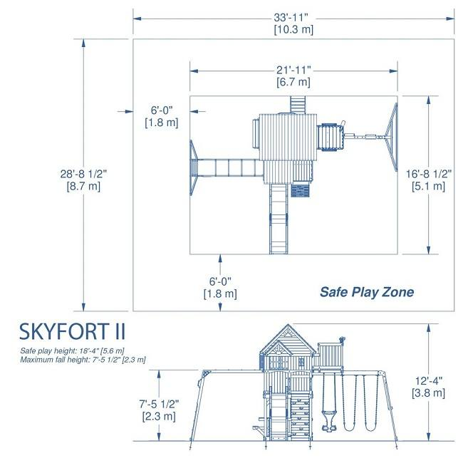 Backyard Discovery Skyfort II All Cedar Wood Playset Swing Set
