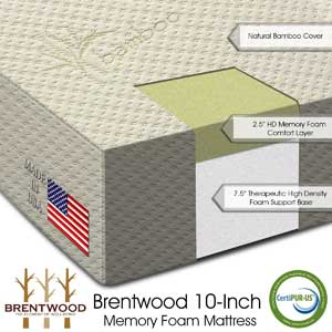 Brentwood 10″ HD Memory Foam Mattress Medium-Firm Review